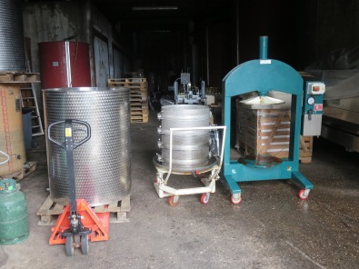 The grapes in tank, the cage and press