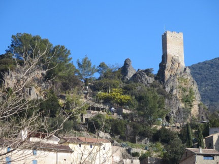 The mimosa is out to the left of the tower at Roquebrun