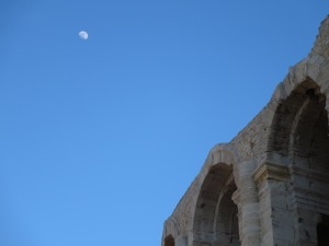 The moon over the arenas of Arles