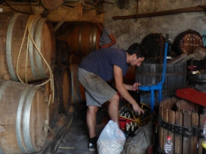 Charles bottles some solera wine