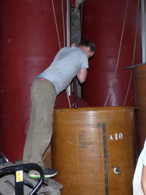 James carrying out a pigeage of the Muscat